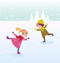 ice skating boy and girl vector image vector image