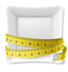 Plate and tape measure vector image vector image