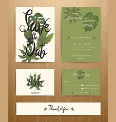 Tropical Palm Leaves Wedding Invitation Card Set vector image vector image