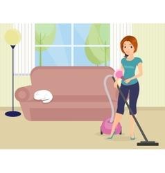 Woman doing housework vector image
