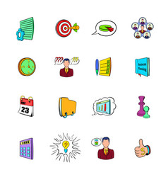 Business planning icons set cartoon vector