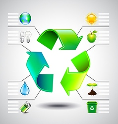 Environment inforgaphics Green recycle symbol and vector image
