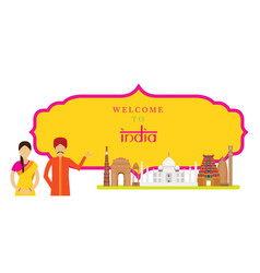 India landmarks with people in traditional vector