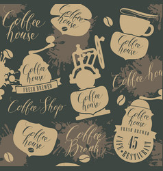 Seamless pattern on theme of coffee house vector