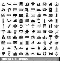 100 wealth icons set simple style vector