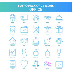 25 green and blue futuro office icon pack vector