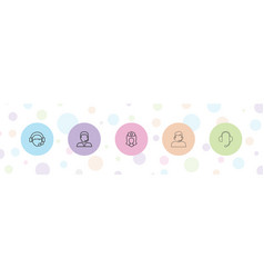 5 assistant icons vector