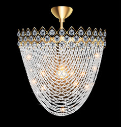 a beautiful luminous crystal chandelier on a dark vector image