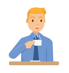 a businessmen are drinking coffee before he go to vector image
