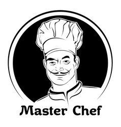 A chef in a cap black and white vector