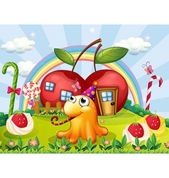 a hilltop with giant lollipops and a monster vector image