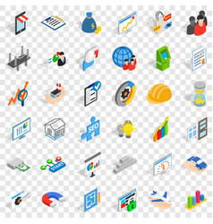 Banking icons set isometric style vector