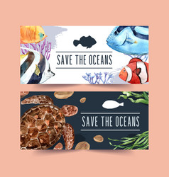 Banner design with fish and turtle concept vector