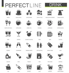 black classic web drinks icons set vector image