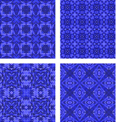 Blue triangle mosaic kaleidoscope background set vector