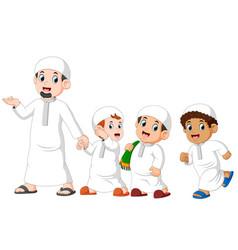 boys are walking for celebrating ied mubarak vector image