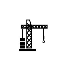 building tower crane flat icon vector image
