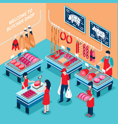 butcher shop inside isometric vector image