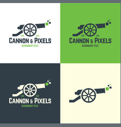 cannon and pixels logo and icon vector image