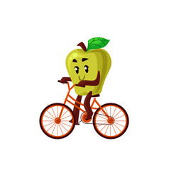 cartoon apple cycling on bike vector image