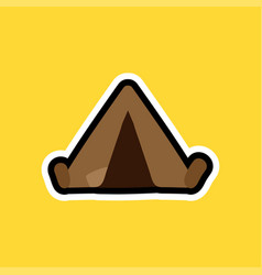 Cartoon sticker with camping tent vector