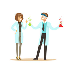 Chemist in protective glasses holding test tubes vector