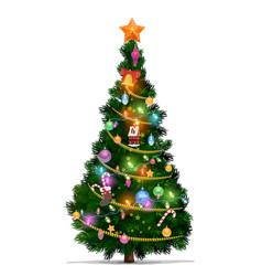christmas tree xmas star balls new year gifts vector image