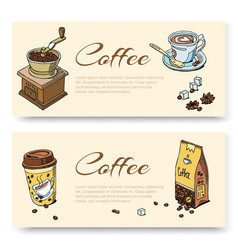 coffee hand grinder and beans cup coffee set vector image