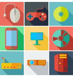 Collection modern flat icons computer mobile vector