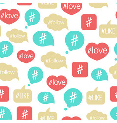 Colorful hashtag bubble seamless pattern vector