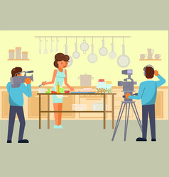 culinary tv show concept for web banner vector image