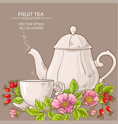 cup of dog rose tea and teapot vector image