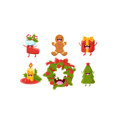 cute christmas cartoon characters set wreath vector image