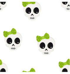 cute halloween cartoon skull seamless pattern vector image