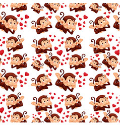 cute monkey on seamless pattern vector image