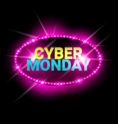 cyber monday sale neon banner shopping discount vector image