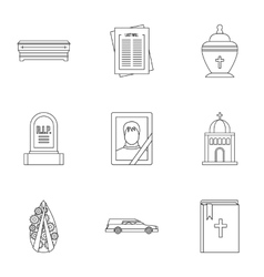 Death icons set outline style vector image
