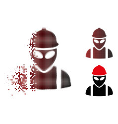 destructed pixel halftone alien builder icon vector image