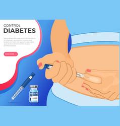 Diabetes concept with insulin pen injection vector