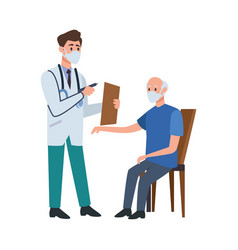 doctor attending old man in chair vector image