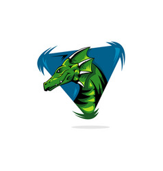 dragon with triangles logo icon vector image