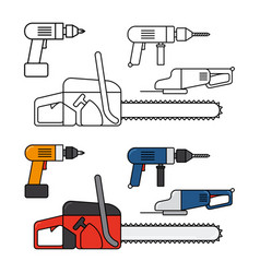 electric tools for home repair - chainsaw drill vector image