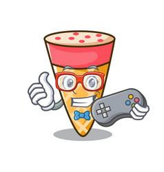gamer ice cream tone mascot cartoon vector image
