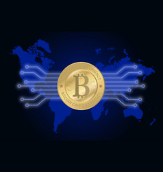 golden bitcoin cryptocurrency on world map vector image