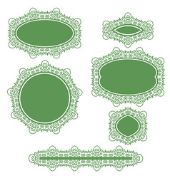 green floral frame and logo set for cosmetics vector image