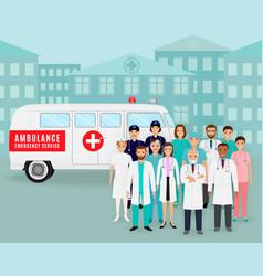 Group doctors and nurses on retro ambulance vector