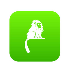 Hairy monkey icon digital green vector