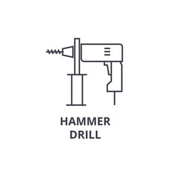 hammer drill line icon sign vector image