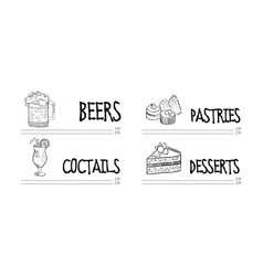 hand drawn design of cafe or restaurant vector image