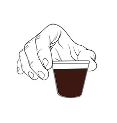 Hand hold espresso shot vector